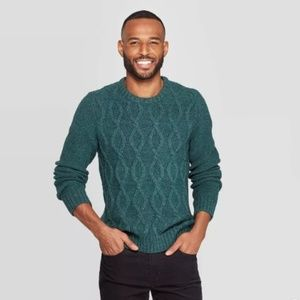 Goodfellow Size L Green Chunky Knit Sweater